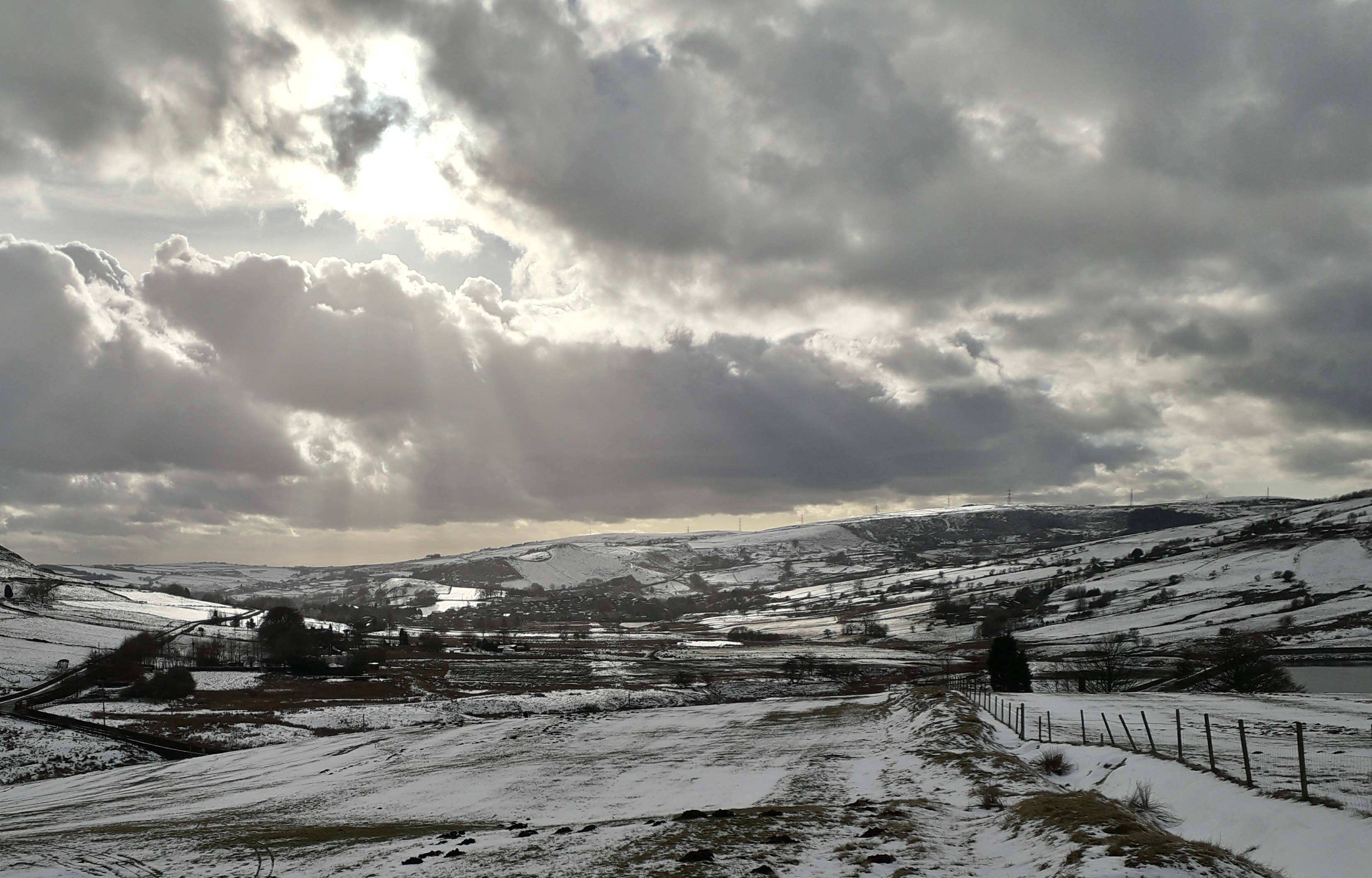 12/02/18, Snowy view along the valley towards Delph